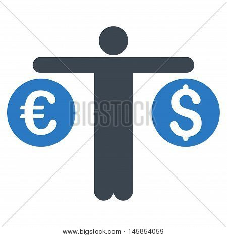 Person Compares Currency icon. Vector style is bicolor flat iconic symbol, smooth blue colors, white background.