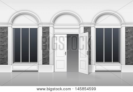 Vector Classic Shop Boutique Building Store Front with Glass Windows Showcase, Open Door and Place for Name Isolated on White Background
