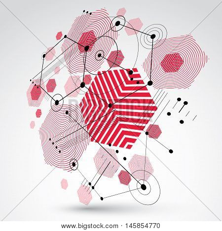 Modular Bauhaus 3d vector background created from geometric figures like hexagons circles and lines.