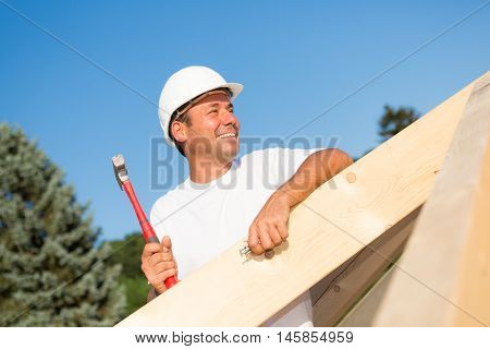 Friendly artisan working hard to build the roof of a new house