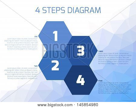 Four steps diagram of hexagonal elements. Business infographics concept. Four shades of blue elements with text labels on lowpoly background.