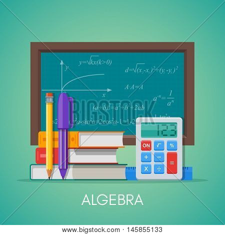 Algebra math science education concept vector poster in flat style design.