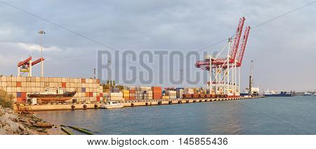 Cargo Cranes On Rails And Containers