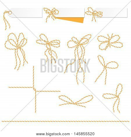 Set of tags and labels tied up with orange bakers twine bows and ribbons, vector