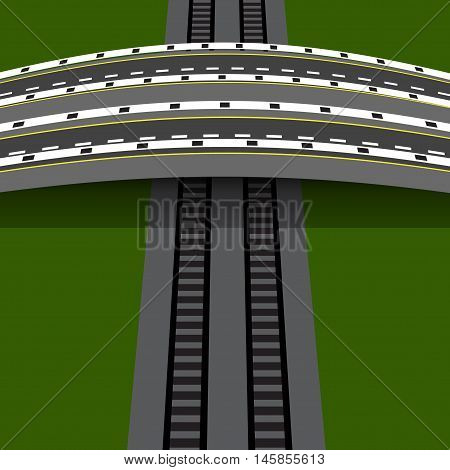 Car overpass crossing the railway. An arch bridge. Vector illustration