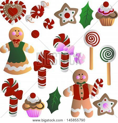 Christmas decorations - cookies in the form of men, cupcakes, stars, candy, sweets, heart, holly leaves. Hand drawn vector stock illustration