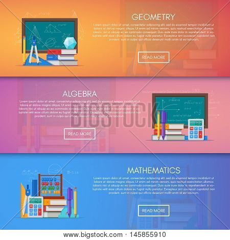 Geometry, algebra and math vector banners. Science education concept poster in flat style design.