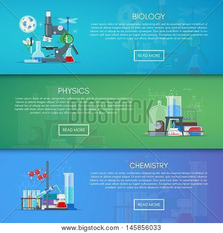 Biology, chemistry and physics vector banners. Science education concept poster in flat style design.