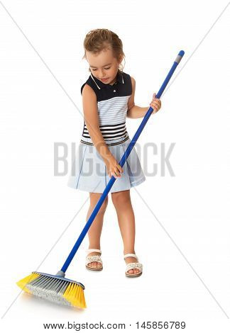 Diligent little girl is tidying up the apartment. Girl sweeping the garbage - Isolated on white background