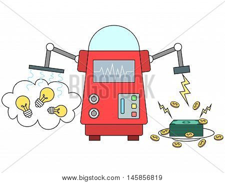 Illustration of machine converting ideas to money