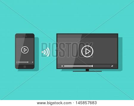 Mobile phone connected to TV streaming video vector illustration, flat screen TV wireless connection with smartphone and share content