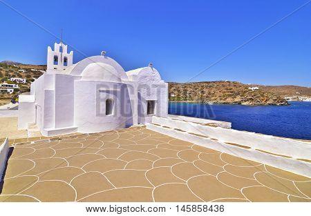 church of Panaghia Chrisopigi at Sifnos island Cyclades Greece