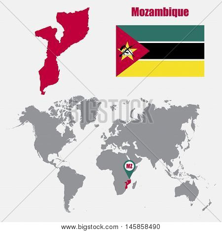 Mozambique map on a world map with flag and map pointer. Vector illustration