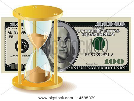 Time Is Money - Hour-Glass And Dollar Bills