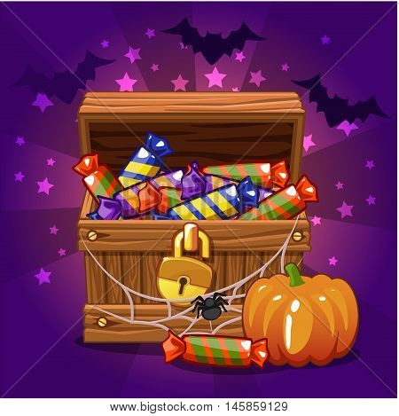 Open antique treasure chest with candy on Halloween, with cobwebs and bats, pumpkin