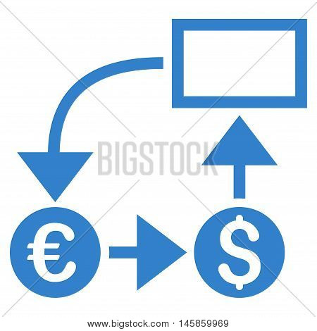 Cashflow icon. Vector style is flat iconic symbol, cobalt color, white background.