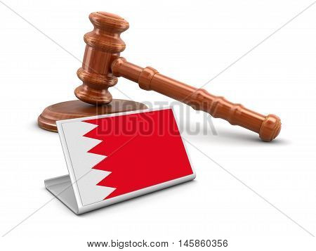 3D Illustration. 3d wooden mallet and Bahrain flag. Image with clipping path