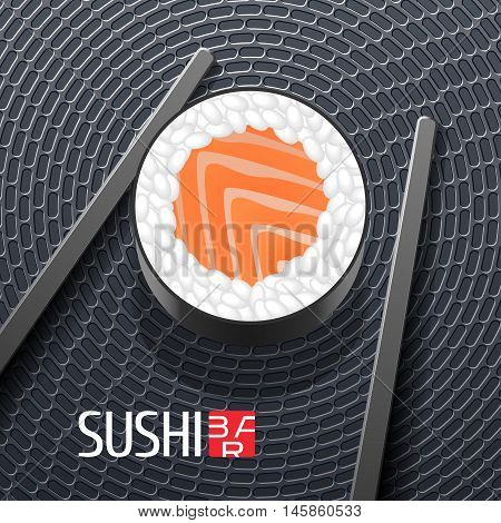 Sushi vector template logo, icon, symbol, sign. Design element with roll closeup and chopsticks for sushi bar, seafood or Japanese restaurant