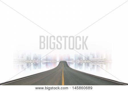 Lane blacktop isolated on blurred of the skyscrapers background.