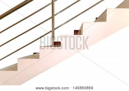 Concrete stair with railing stainless steel isolated on white background.