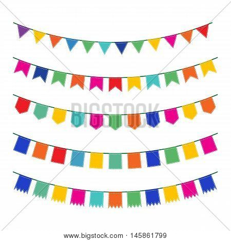 Colorful pennant bunting collection with stitch lines isolated on white backgound in flat design. vector illustration