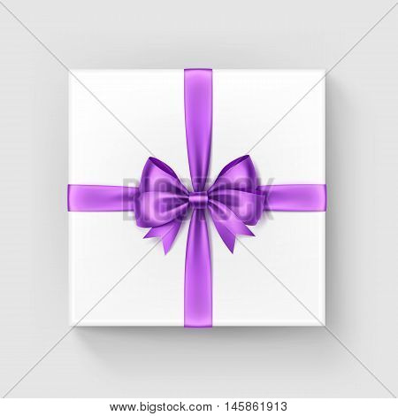 Vector White Square Gift Box with Shiny Burgundy Light Violet Lilac Satin Bow and Ribbon Top View Close up Isolated on White Background