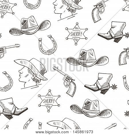 Western Hand Draw Sketch Vector Seamless Pattern.