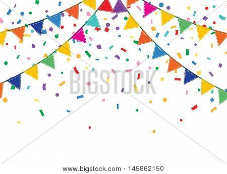 Holiday background with Bunting and garland. Colorful festive flags and confetti