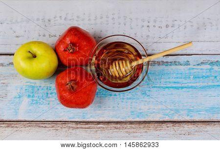 Pomegranate, Apple And Honey, Traditional Food Of Jewish New Year Celebration, Rosh Hashana.