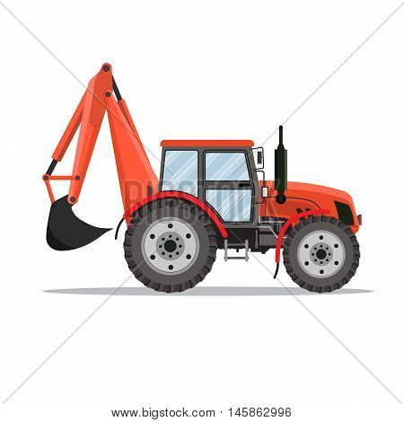 red Tractor excavator icon isolated on white background. Vector illustration in flat design