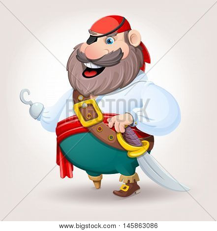 Old pirate with wooden foot and hook. Vector illustration.