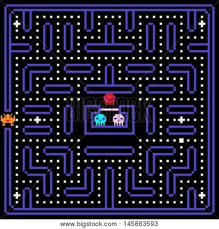 8-Bit Pixel Retro Arcade Game. Old video game design. Vector illustration