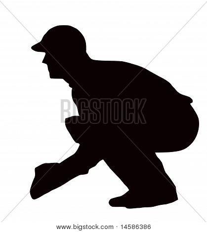 Sport Silhouette - Wicket-keeper Crouching