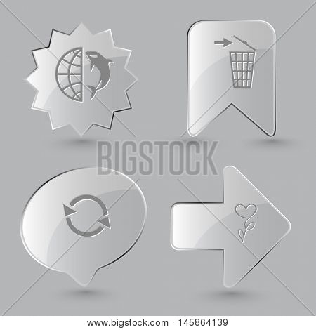 4 images: globe and shamoo, recycling bin, recycle symbol, flower. Nature set. Glass buttons on gray background. Vector icons.