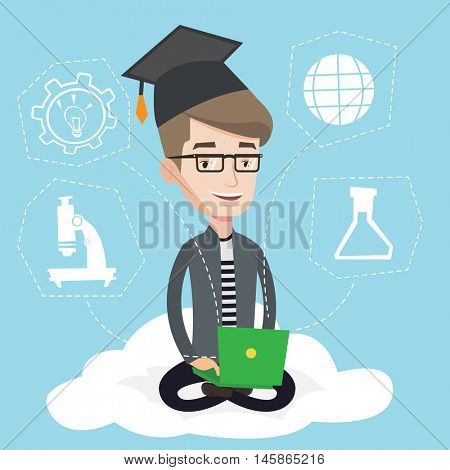 Graduate sitting on cloud with laptop on knees. Happy student in graduation cap working on computer. Concept of educational technology and graduation. Vector flat design illustration. Square layout.