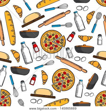 Cooking and kitchen utensils seamless background. Wallpaper with vector pattern icons of pizza, bread bagel, croissant, salt, pepper, rolling pin, whisk, milk bottle, eggs, spatula, frying pan