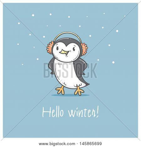 Card with cute cartoon  penguin in earmuffs. Winter time. Little Antarctic bird. Funny animal. Vector contour image. Children's illustration.