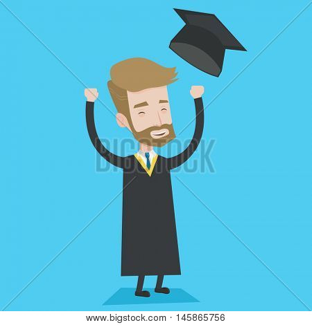 Excited graduate in cloak and graduation hat. A hipster graduate with the beard throwing up his hat. Cheerful graduate with hands raised celebrating. Vector flat design illustration. Square layout.