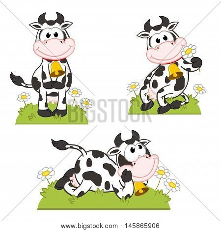 set of isolated cow in the meadow - vector illustration, eps