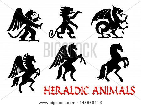Animals heraldic emblems. Vector silhouette icons. Griffin, Dragon, Lion, Pegasus, Horse outline for tattoo, heraldry, tribal shield emblem. Fantasy mythical creatures