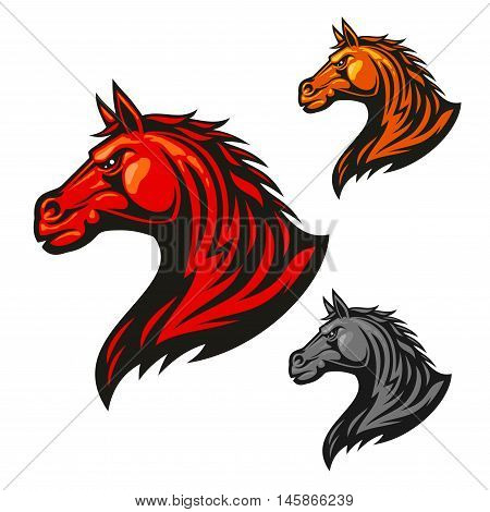 Furious horse head icon. Stylized fire flaming stallion vector emblems. Aggressive powerful mustang symbol for sport club emblem badge, team shield, label, tattoo
