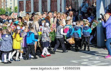 St. Petersburg, Russia - 1 September, First-graders escorted to school,1 September, 2016. School holiday the Day of Knowledge.
