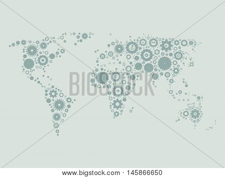 World map mosaic of grey cog wheels on light grey background. Industrial theme. Vector illustration.