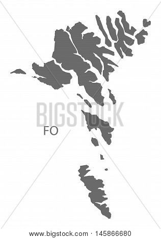 Faroe Islands grey map isolated vector high res