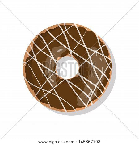 Tasty chocolate sweet donut icon with sprinkles isolated on white background. Top view illustration of doughnut for your cafe, restaurant, shop flyer and banner