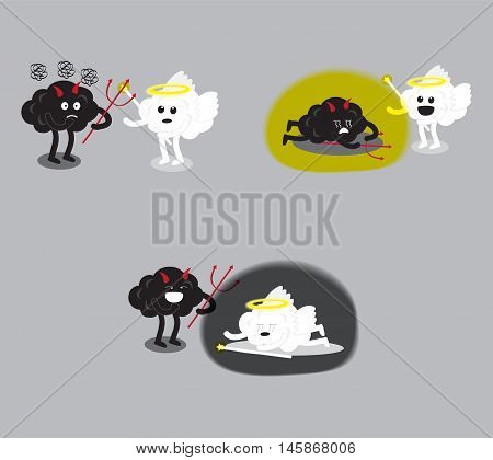 brain cartoon characters vector illustration image set showing angel and devil fighting together that has different scenes of a winner (conceptual image about human moral)