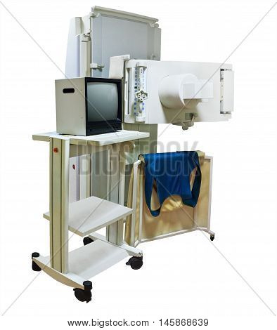 X-ray machine with monitor isolated on white background
