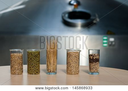 Ingredients for the production of beer: malt, yeast, hops, grain