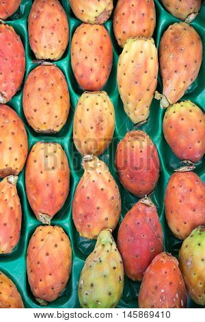 Prickly pear cactus fruits called also Opuntia ficus-indica Indian fig opuntia barbary fig tuna in a box for sale on the greek market. Fruits of prickly pear cactus on a market. Vertical. Close.