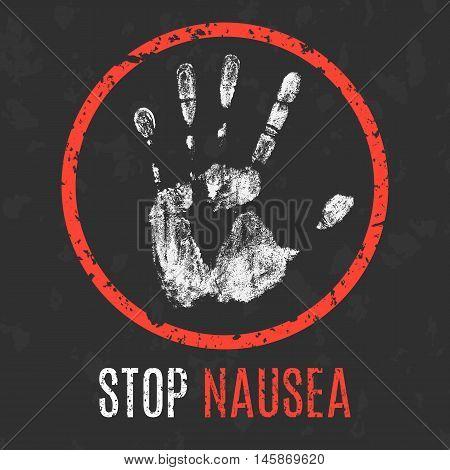 Conceptual vector illustration. Human diseases. Stop nausea.